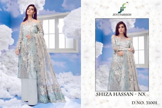 JUVI FASHION SHIZA HASSAN NX NET FABRIC WITH HEAVY  (1)