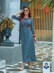 KAJAL STYLE FASHION GALLERIA CATALOGUE RAYON KURTI OCCASIONALLY PARTY WEAR (3)