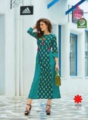 KAJAL STYLE FASHION MONZA VOL 1 CATALOG COTTON EXCLUSIVE TRENDY KURTIES WHOLESALE (9)