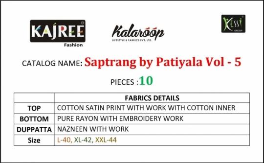 KAJREE FASHION BY KALAROOP SAPTRANG BY PATIYALA VOL 5 COTTON SATIN FABRIC SALWAR SUIT WHOLESALE DEALER BEST RATE BY GOSIYA EX (18)
