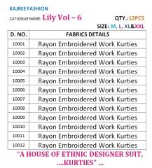 KAJREE LILY VOL 6 REYON EMBRODERY KURTI WHOLESALE RATE AT GOSIYA EXPORTS SURAT WHOLESALE DEALER AND SUPPLAYER SURAT GUJARAT (5)