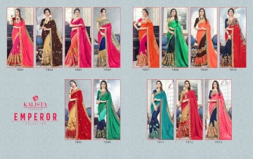 KALISTA FASHION EMPEROR CATALOG FANCY EMBROIDERED PARTY WEAR SAREES WHOLESALE DEALER BEST EXPORTS SURAT (10)