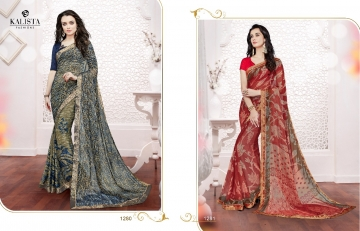 Kalista olive designer printed sarees catalog WHOLESALE BEST RATE BY GOSIYA EXPORTS (16)