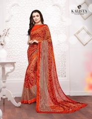 Kalista olive designer printed sarees catalog WHOLESALE BEST RATE BY GOSIYA EXPORTS