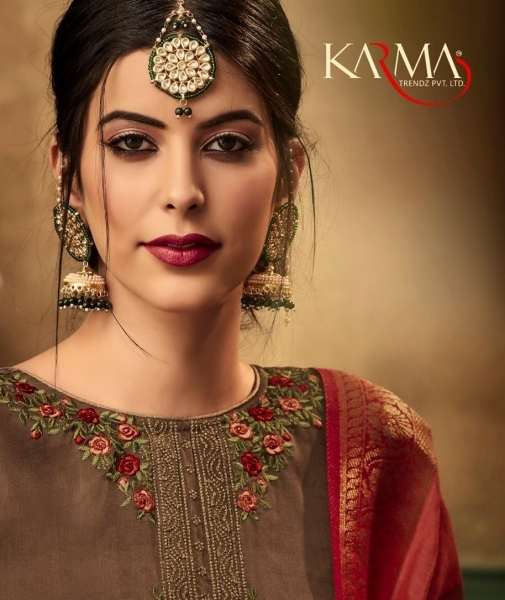 KARMA TRENDZ 14058-63 SERIES SATIN GEORGETTE SHARARA STYLE SUITS WHOLESALE DEALER BEST RATE BY GOSIYA EXPORTS SURAT (1)