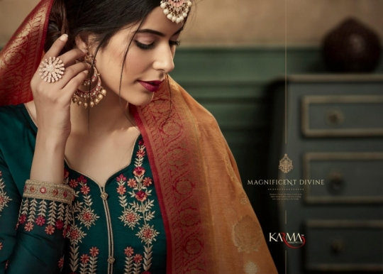 KARMA TRENDZ 14058-63 SERIES SATIN GEORGETTE SHARARA STYLE SUITS WHOLESALE DEALER BEST RATE BY GOSIYA EXPORTS SURAT (10)