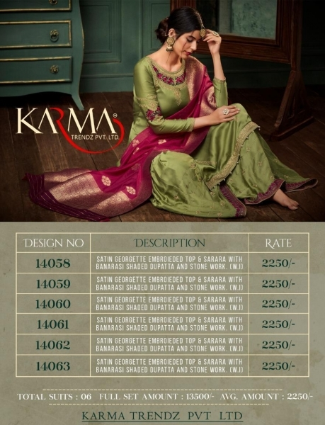 KARMA TRENDZ 14058-63 SERIES SATIN GEORGETTE SHARARA STYLE SUITS WHOLESALE DEALER BEST RATE BY GOSIYA EXPORTS SURAT (3)