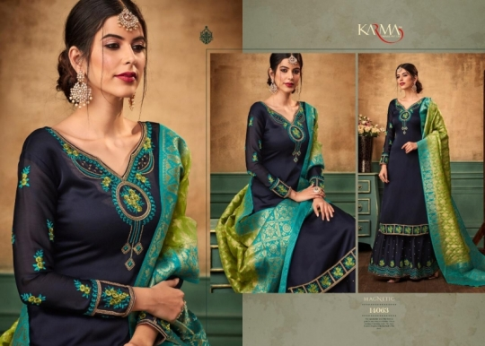 KARMA TRENDZ 14058-63 SERIES SATIN GEORGETTE SHARARA STYLE SUITS WHOLESALE DEALER BEST RATE BY GOSIYA EXPORTS SURAT (4)