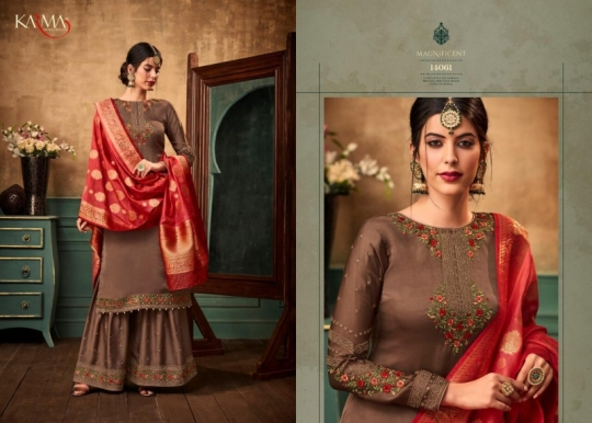 KARMA TRENDZ 14058-63 SERIES SATIN GEORGETTE SHARARA STYLE SUITS WHOLESALE DEALER BEST RATE BY GOSIYA EXPORTS SURAT (7)