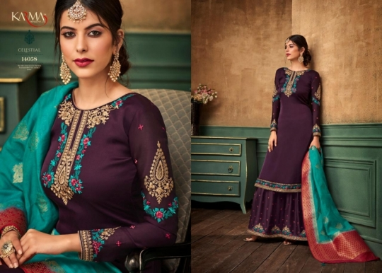 KARMA TRENDZ 14058-63 SERIES SATIN GEORGETTE SHARARA STYLE SUITS WHOLESALE DEALER BEST RATE BY GOSIYA EXPORTS SURAT (9)