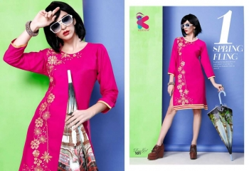 KERSOM DEEAM GIRL RAYON WITH WORK DESIGNER KURTI CATALOG WHOLESALE BEST RATE BY GOSIYA EXPORTS (4)