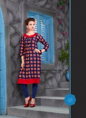 KERSOM SPLASH SATIN CHECKS STRAIGHT KURTI WHOLESALE KERSOM BY GOSIYA EXPORTS (2)