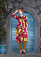 KERSOM SPLASH SATIN CHECKS STRAIGHT KURTI WHOLESALE KERSOM BY GOSIYA EXPORTS (5)