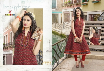 KESROM BY QUEEN VOL 4 CAMBRIC KURTI WHOLESALE BEST RATE SURAT BY KERSOM (12)