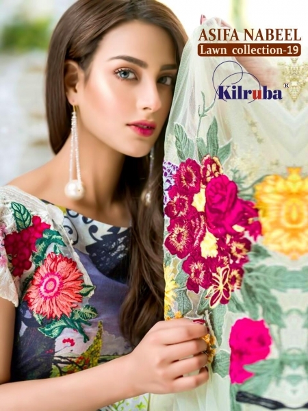 KILRUBA ASIFA NABEEL LAWN COLLECTION 19 COTTON PAKISTANI CONCEPT OF SUITS WHOLESALE DEALER BEST RATE BY GOSIYA EXPORTS SURAT (1)