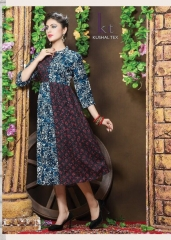 KUSHAL TEX FREPIC CATALOGUE RAYON PRINT DESIGNER WEAR KURTI