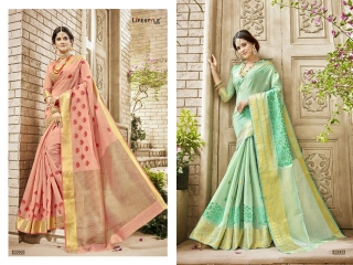 LIFESTYLE HANSIKA VOL 3 PARTY WEAR SILKS SAREES WHOLESALE SUPPLIER BEST RATE BY GOSIYA EXPORTS SURAT (6)