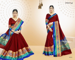 LIFESTYLE VATIKA COTTON WEAVING SAREES PARTY WEAR COLLECTION WHOLESALE DEALER BEST RATE BY GOSIYA EXPORTS SURAT (12)