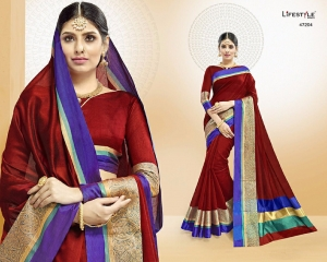 LIFESTYLE VATIKA COTTON WEAVING SAREES PARTY WEAR COLLECTION WHOLESALE DEALER BEST RATE BY GOSIYA EXPORTS SURAT (4)