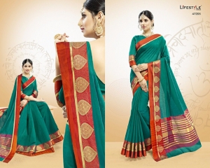 LIFESTYLE VATIKA COTTON WEAVING SAREES PARTY WEAR COLLECTION WHOLESALE DEALER BEST RATE BY GOSIYA EXPORTS SURAT (5)