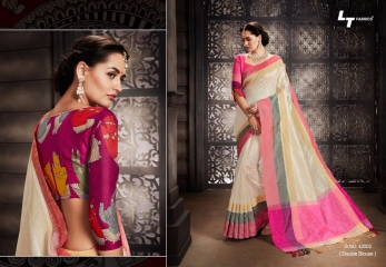 LT FABRICS MADHUBANI SILKS PARTY WEAR DOUBLE BLOUSE SAREES COLLECTION (1)