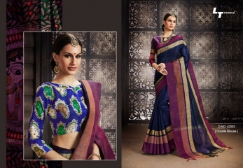 LT FABRICS MADHUBANI SILKS PARTY WEAR DOUBLE BLOUSE SAREES COLLECTION (3)