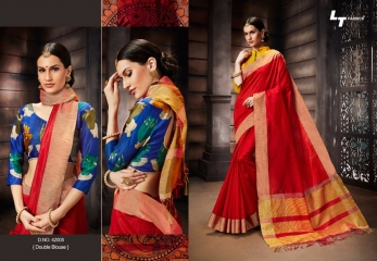 LT FABRICS MADHUBANI SILKS PARTY WEAR DOUBLE BLOUSE SAREES COLLECTION (5)