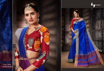 LT FABRICS MADHUBANI SILKS PARTY WEAR DOUBLE BLOUSE SAREES COLLECTION (7)