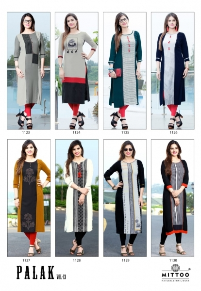 MITTOO PALAK VOL 13 RAYON FABRIC FULL STITCHED DESIGNER KURTIS WHOLESALE DEALER BEST RATE BY GOSIYA EXPPORTS SURAT (5)
