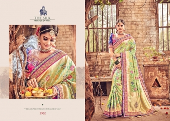 MN SILK HERITAGE SERIES 3901 TO 3915 DESIGNER SAREES CATALOG WHOLESALE BEST ARTE BY GOSIYA EXPORST (40)