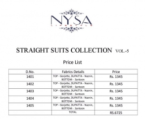 NYSA STRAIGHT SUITS COLLECTION VOL - 5 WHOLESALE RATE AT GOSIYA EXPORTS SURAT WHOLESALE DEALER AND SUPPLAYER SURAT GUJARAT (11)