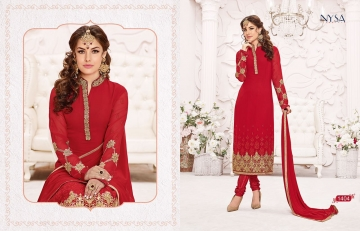 NYSA STRAIGHT SUITS COLLECTION VOL - 5 WHOLESALE RATE AT GOSIYA EXPORTS SURAT WHOLESALE DEALER AND SUPPLAYER SURAT GUJARAT (5)