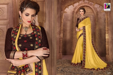 PIKASHO BY IMPRESSION VOL 4 CATALOGUE DESIGNER EMBROIDERED SAREES WHOLESALE BEST RATE BY GOSIYA EXPORTS (4)