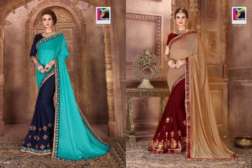 PIKASHO BY IMPRESSION VOL 4 CATALOGUE DESIGNER EMBROIDERED SAREES WHOLESALE BEST RATE BY GOSIYA EXPORTS (7)