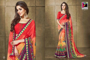 PIKASHO KRITIKA VOLUME 13 GEORGETTE PRINT SAREES WHOLESALE BEST RATE BY GOSIYA EXPORTS SURAT (1)