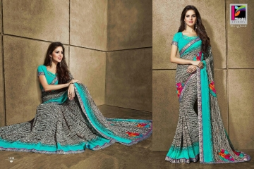 PIKASHO KRITIKA VOLUME 13 GEORGETTE PRINT SAREES WHOLESALE BEST RATE BY GOSIYA EXPORTS SURAT (3)