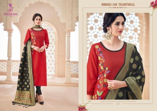 poonam-designer-minakari-cotton-slub-with-work-kurtis-with-dupatta-collection-wholesale-surat-2