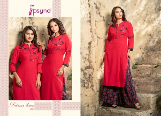 PSYNA PALAZZO HOUSE VOL 4 RAYON FABRIC KURTIS WITH PALAZZO BEST WHOLESALE DEALER BEST RATE BY GOSIYA EXPORTS SURAT (13)