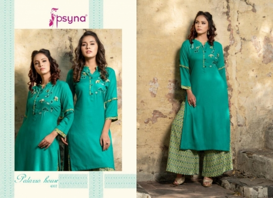 PSYNA PALAZZO HOUSE VOL 4 RAYON FABRIC KURTIS WITH PALAZZO BEST WHOLESALE DEALER BEST RATE BY GOSIYA EXPORTS SURAT (15)
