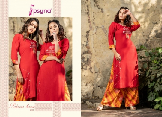PSYNA PALAZZO HOUSE VOL 4 RAYON FABRIC KURTIS WITH PALAZZO BEST WHOLESALE DEALER BEST RATE BY GOSIYA EXPORTS SURAT (20)