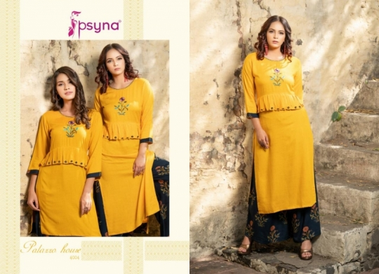 PSYNA PALAZZO HOUSE VOL 4 RAYON FABRIC KURTIS WITH PALAZZO BEST WHOLESALE DEALER BEST RATE BY GOSIYA EXPORTS SURAT (23)