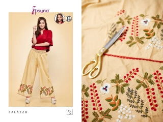 PSYNA PLAZZO 10 COTTON LINEN EMBROIDERED PLAZZO COLLECTION EXPORTS SURAT (1)