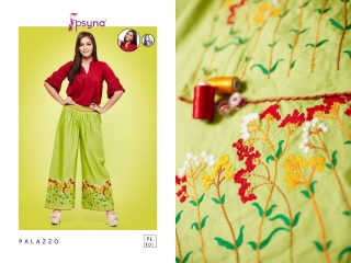PSYNA PLAZZO 10 COTTON LINEN EMBROIDERED PLAZZO COLLECTION EXPORTS SURAT (2)