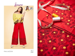 PSYNA PLAZZO 10 COTTON LINEN EMBROIDERED PLAZZO COLLECTION EXPORTS SURAT (3)