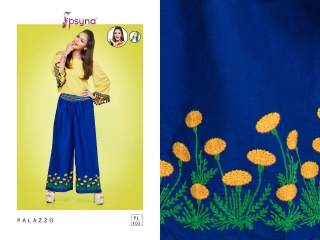PSYNA PLAZZO 10 COTTON LINEN EMBROIDERED PLAZZO COLLECTION EXPORTS SURAT (4)