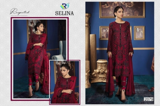 R9 DESIGNER PRESENTS SELINA GEORGETTE FABRIC DRESS MATERIAL WITH EMBROIDERY WHOLESALE DEALER BEST RATE BY GOSIYA EXPORTS