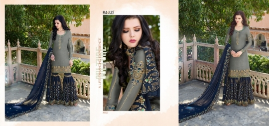 RAAZI VOL 11 PAKISTANI SAHARARA DRESS  (15)