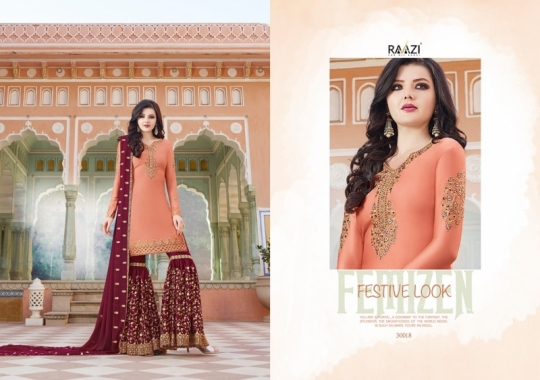 RAAZI VOL 11 PAKISTANI SAHARARA DRESS  (6)