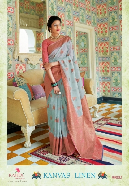 RAJTEX PRESENTS CANVAS LINEN FABRIC DESIGNER SAREE WHOLESALE DEALER BEST RATE BY GOSIYA EXPORTS SURAT (5)