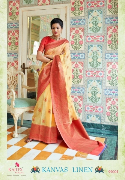 RAJTEX PRESENTS CANVAS LINEN FABRIC DESIGNER SAREE WHOLESALE DEALER BEST RATE BY GOSIYA EXPORTS SURAT (7)